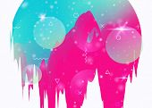 Cosmos Background With Abstract Holographic Landscape And Future Universe. Futuristic Gradient And S poster