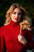 No Rush. Female Beauty. Haidresser And Makeup. Fall Fashion Season. Girl Long Blond Hair. Girl Red L poster