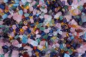 Healing Chakra Crystals Banner - Chakra Colored Tumbled Healing Stones. Crystal Healing Background poster