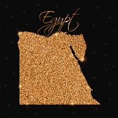 Egypt Map Filled With Golden Glitter. Luxurious Design Element, Vector Illustration. poster