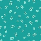 Green Stereo Speaker Icon Isolated Seamless Pattern On Green Background. Sound System Speakers. Musi poster