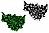 Cascades Region (regions Of Burkina Faso, Burkina Faso) Map Is Designed Cannabis Leaf Green And Blac poster