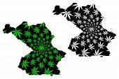 Centre-sud Region (regions Of Burkina Faso, Burkina Faso) Map Is Designed Cannabis Leaf Green And Bl poster