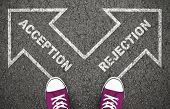 Acception Or Rejection Decision At Crossroad. Approved Or Disapproved, Yes And No, Right Or Wrong De poster