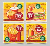 Fast Food Hamburger, Fast Food Meals Banners Tasty Set Fast Food Vector poster
