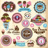 Collection of vintage retro ice cream labels, badges and icons