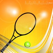 Tennis racquet and ball with net on shiny orange background with wave pattern. EPS 10.