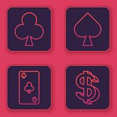 Set Line Playing Card With Clubs Symbol, Playing Card With Clubs Symbol, Playing Card With Spades Sy poster