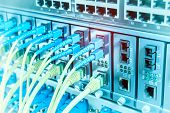 Fiber Optic cables connected to an optic ports and Network cables connected to ethernet ports poster