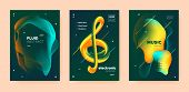 Trance Music Poster. Abstract Gradient Blend. Night Club Festival. Dj Sound. Green Techno Music Post poster