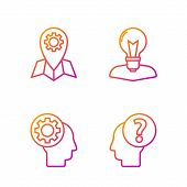 Set Line Human Head With Question Mark, Human Head With Gear Inside, Location Job And Human Head Wit poster