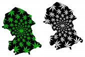 Nord Region (regions Of Burkina Faso, Burkina Faso) Map Is Designed Cannabis Leaf Green And Black, N poster