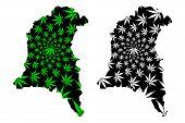 Sud-ouest Region (regions Of Burkina Faso, Burkina Faso) Map Is Designed Cannabis Leaf Green And Bla poster