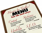 A menu with instructions and guidance for growing your web traffic and improving your search engine