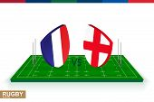 Rugby Team France Vs England On Green Rugby Field, France And England Team In Rugby Championship. poster