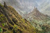 Mountain Peaks In Xo-xo Valley Of Santa Antao Island At Cape Verde. Arid And Erosion Mountain Peaks  poster