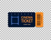 Ticket Of Cinema For Movie. Template Blue Vip Entry Pass Ticket For Theater, Festival, Cinema On Iso poster