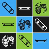 Set Line Skateboard Trick, Bicycle Trick And Skateboard Icon. Vector poster