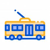 Public Transport Trolley Bus Vector Sign Icon. Electrical Electrobus Trolley Bus, Urban Passenger Tr poster