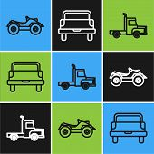 Set Line All Terrain Vehicle Or Atv Motorcycle, Delivery Cargo Truck Vehicle And Pickup Truck Icon.  poster
