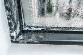 Winter home insulation window frost problem. Condensation on house and apartment windows causing ice poster