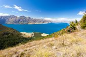 Blue surface of Lake Hawea, Central Otago, NZ