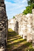 Sunny Day In Mexico, Ancient Ruins Of Maya, Pyramids, Pillars, Stone Fields And Other Sacred Mayan P poster