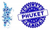 Blue Phuket Map Mosaic Of Stars, And Grunge Round Stamp Seal. Abstract Geographic Scheme In Blue Col poster