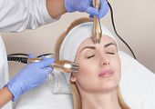 Beautician Does The Procedure Rf-lifting On Face And Neck. Rf Lifting Procedure In A Beauty Parlour. poster