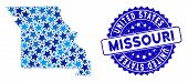 Blue Missouri State Map Mosaic Of Stars, And Grunge Round Stamp. Abstract Territorial Scheme In Blue poster