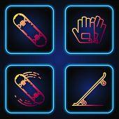 Set Line Skateboard, Skateboard Trick, Skateboard Trick And Gloves. Gradient Color Icons. Vector poster