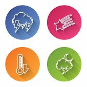 Set Line Storm, Falling Star, Thermometer And Storm. Color Circle Button. Vector poster
