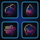 Set Line Storm, Wind, Storm And Water Drop Percentage. Gradient Color Icons. Vector poster