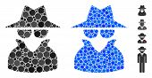 Spy Composition Of Round Dots In Various Sizes And Color Tones, Based On Spy Icon. Vector Round Dots poster