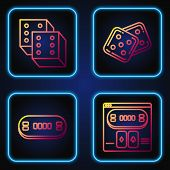 Set Line Online Poker Table Game, Poker Table, Game Dice And Game Dice. Gradient Color Icons. Vector poster
