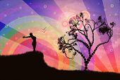 picture of spirit  - Silhouette of a woman relaxing on a beautiful sunset of a summer day - JPG