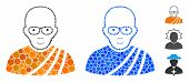 Buddhist Monk Composition Of Filled Circles In Variable Sizes And Color Hues, Based On Buddhist Monk poster