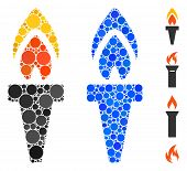 Torch Composition Of Round Dots In Different Sizes And Shades, Based On Torch Icon. Vector Dots Are  poster