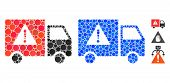 Danger Transport Truck Mosaic Of Circle Elements In Variable Sizes And Color Tints, Based On Danger  poster