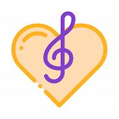 Treble Clef And Heart Song Element Vector Icon Thin Line. Treble Clef And Headphones, Concert, Opera poster