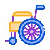 Self-propelled Wheelchair Equipment Vector Icon Thin Line. Orthopedic And Trauma Rehabilitation, Bel poster