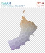 Oman Polygonal, Mosaic Style Country Map. Wonderful Low Poly Style, Modern Design For Infographics O poster