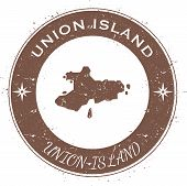 Union Island Circular Patriotic Badge. Grunge Rubber Stamp With Island Flag, Map And Name Written Al poster