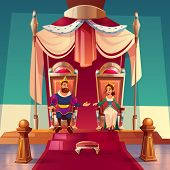King And Queen Sitting On Thrones In Palace. Medieval Royal Family, Monarchy Husband And Wife In Gol poster