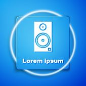 White Stereo Speaker Icon Isolated On Blue Background. Sound System Speakers. Music Icon. Musical Co poster