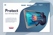Protect Your Personal Data Landing Page Template. Cyber Crime, Law Break Flat Vector Illustration. B poster