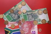 South African Rand Money Banknotes And Coins Top View. Zar Official Currency Of South Africa Republi poster