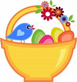 Easter greeting card with bird and basket full of eggs