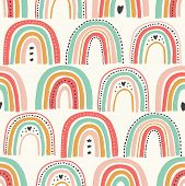 Cute Scandinavian Childish Seamless Pattern With Trendy Hand Drawn Rainbows poster