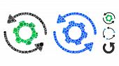 Infinite Rotation Mosaic Of Small Circles In Various Sizes And Color Tinges, Based On Infinite Rotat poster